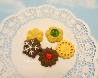 Fake Cookies Set F Handmade Holiday Christmas Faux Sugar Press Spritz Danish Butter Cookies