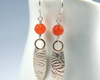 Carnelian Silver Dangle Earrings / Sterling Silver Drop Orange Carnelian Earrings / Mixed Metal Long Earrings / Handmade Earrings