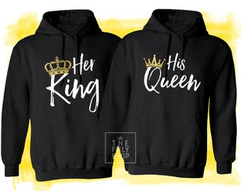 Her King His Queen Couple Hoodies, Couple Shirts, King Queen Sweatshirts Hooded, King and Queen Shirts, Queen Sweatshirt, King Sweatshirt