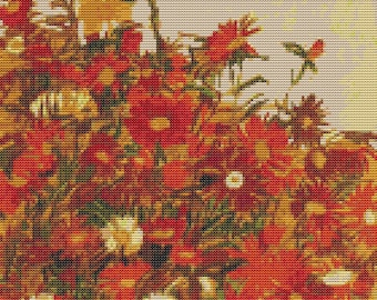Floral Cross Stitch Chart, Field of Flowers Cross Stitch Pattern PDF, Art Cross Stitch, Floral Cross Stitch, Egon Schiele
