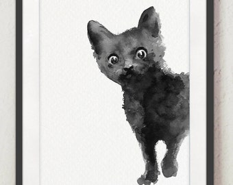 Black Cat Poster Abstract Animal Minimalist Painting Kitten Drawing Home Decor Illustration