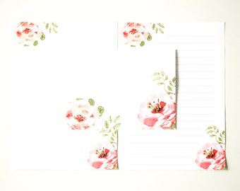 Letter writing set, stationery set, writing paper, letter stationery set, floral writing paper
