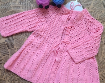 Knitting Jacket For Girl : Knitted baby jacket etsy
