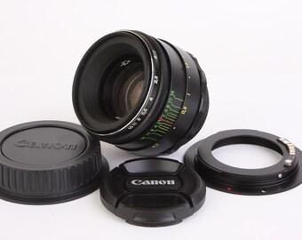 Helios 44-2 2/58 Portrait Lens for Canon EOS mount Focus Confirmation f/2 M42 58 mm Bokeh Russian Soviet USSR Vintage Photo Slr lens Confirm