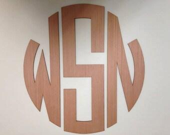 Wooden Monogram Wall Hanging - Circular Wood Monogram - Nursery Decor - Wall Decor Wooden Letters