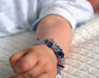 Baby Fluorite bracelet gemstone, Calming stone bracelet. Baby jewelry gift. Bracelet Healing Crystal Natural Stone