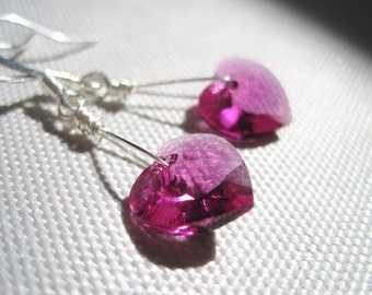 Light Pink Swarovski Crystal Earrings, Pink Heart Earrings, Fuchsia Swarovski Hearts Earrings, Minimalist Earrings