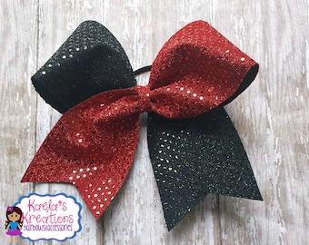 Cheer Hair Bow,Cheer Bows, Black And Red Cheer Bows, Red and Black Cheer Bows, Red and Black Cheer Hair Bows.