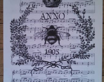 NEW french market anno 1905 french bee french crown on vintage sheet music