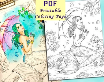 Coloring Page. Fantasy Mermaid PDF