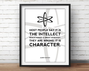 Albert Einstein Quote Science Poster - Science Art, Geek Posters, Atheist Print, Wall Art, Scientist Poster, 18x24 Poster