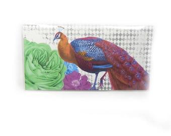 checkbook cover - Ultra Peacock - check book holder - retro modern floral - diamond print