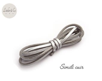 1 m cord faux leather 3mm x 1.5 mm suede [faux Silver]