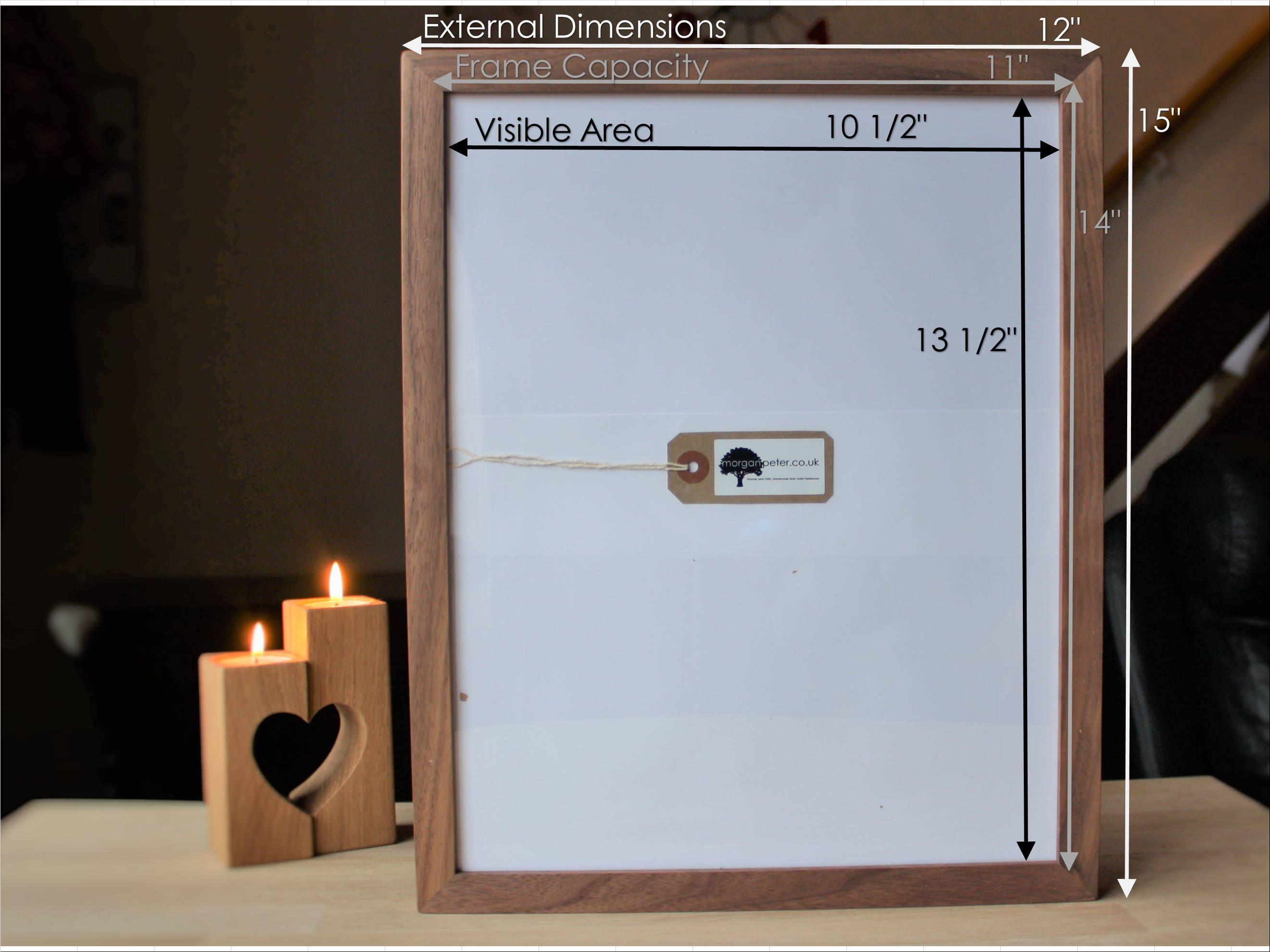 11X14 Walnut frame - Wooden photo frame - for pics 14x11 - custom ...