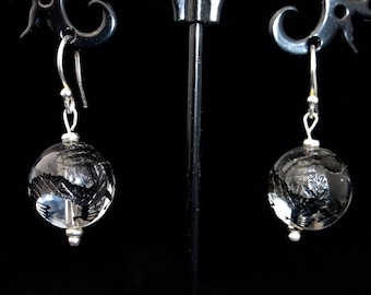 Crystal carved dragon earrings, sterling silver, mystical, drop earrings, mystical
