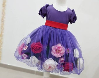 Girls floral party dress, girls luxury party dress, flower girl dress, girls artificial dress, girls birthday dress, flower tulle dress