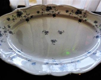 Vintage Johann Haviland China Corporation Blue Garland Traditions Fine China Serving Oval Victorian Style Platter