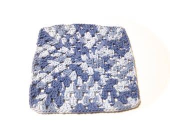 Faded Denim Crocheted Square Dish Cloth