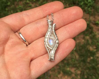 Mini rainbow moonstone wire wrap necklace