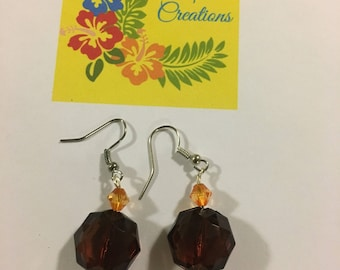Maroon and Yellow Essential Oil Earrings