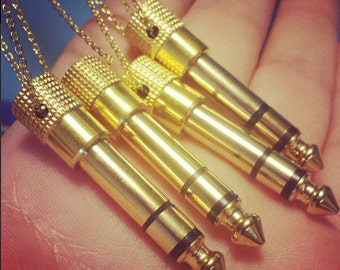 """Audio Jack Necklace - Gold Tone Real Headphone 1/4"""" Adapter Jewelry - Unisex Men's Or Women's Musician Guitarist DJ Gift Ready To Ship"""