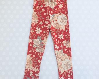 Peach Fizz - Leggings for Girls - Girls Floral Leggings - Floral Print Leggings - coral Leggings - Baby Girl Leggings - Baby Leggings