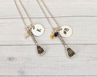 Lacrosse Necklace, Lacrosse Jewelry, Sterling Silver Lacrosse Stick, Personalized Lacrosse Necklace, LAX Team Jewelry