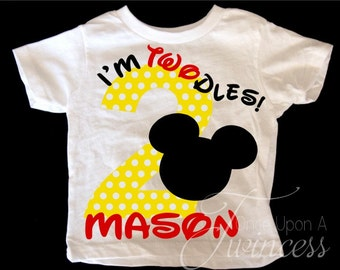 I'm Twodles Birthday Shirt - Mickey Mouse Birthday shirt  - Second birthday - Boys 2nd birthday shirt - I'm Twoodles birthday