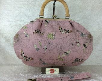 Handmade handbag purse kiss clasp Betty frame bag Alexander Henry Ghastlie Web Moths gothic