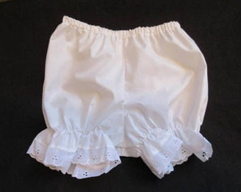 White Diaper cover,18 Months,Baby Girl Bloomers, w/ Eyelet lace trim