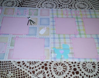 12x12 Two page Baby Girl Scrapbook pages