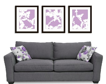 Cherry Blossoms Wall Art Print Set - 11x14 - Lavender Purple - Nature Flower Branches - Spring Decor- Modern Flowers Art