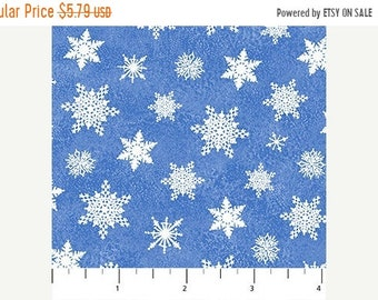 20% off thru 7/10 SANTA CLAUS is Coming to Town Northcott Christmas fabric by the half yard-white snowflakes on blue cotton-21698-42