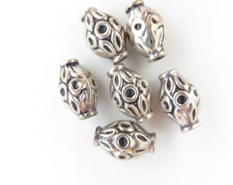 Package of 6 10mm Oval Bali Beads - Sterling Silver Oxidized