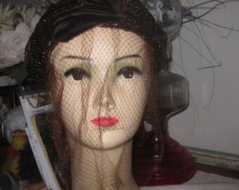 VTG braun samt Fascinator Hut mit Schleier, die atemberaubende Hut kostenloser Versand