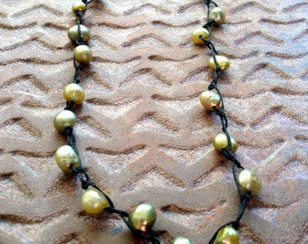 Green Pearl Necklace,long