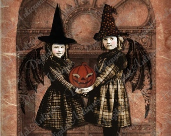Halloween Little Winged Witches Instant Digital Download