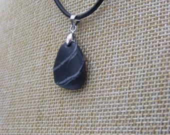 Natural Irish Wishing Stone Beach Pebble Pendant Necklace