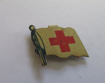 Vintage WW 2 Red Cross flag shaped fold over lapel button,  vintage metal pin, Red Cross pin , Vintage Red Cross, Red Cross flag pin,