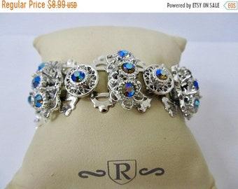On Sale Vintage Ornate Iridescent Rhinestone Bracelet Item K # 2410
