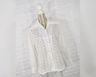 Vtg 70s Carefree Fashions Sheer White Eyelet Button Up Top