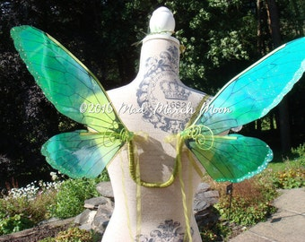 Absinthe Green Iridescent Fairy Wings, small size wearable fairy wings, poseable fairy costume wings