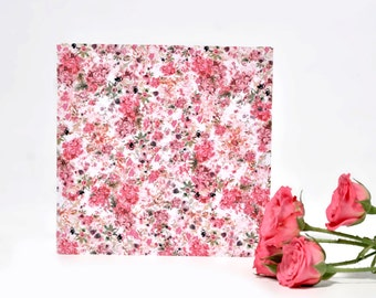 Square Hand Painted Floral Card. Greetings card. Pink and Purple Print. Watercolour painted. Hand Drawn. Blank Card. Any occasion.