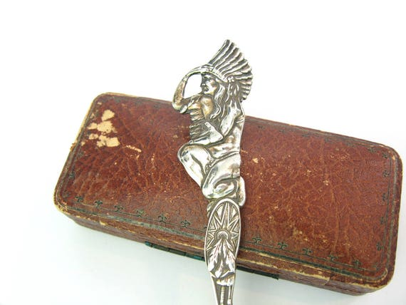Antique American Indian Chief Sterling Silver Tea Spoon 1910s