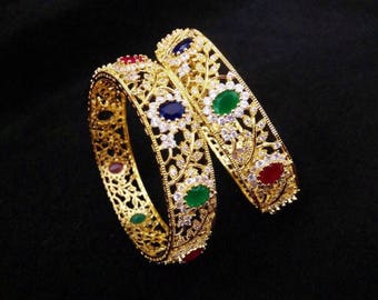 Cz Emerald Ruby Neelam Bangles | Indian Bridal Bangles