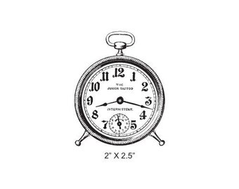 Antique Alarm Clock SteamPunk Rubber Stamp