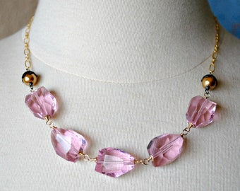 Pink Faceted Nugget Necklace, Pink Wedding, Statement Necklace, Modern Romance Necklace, Gold Wire Wrapped, Cotton Candy Pink Necklace
