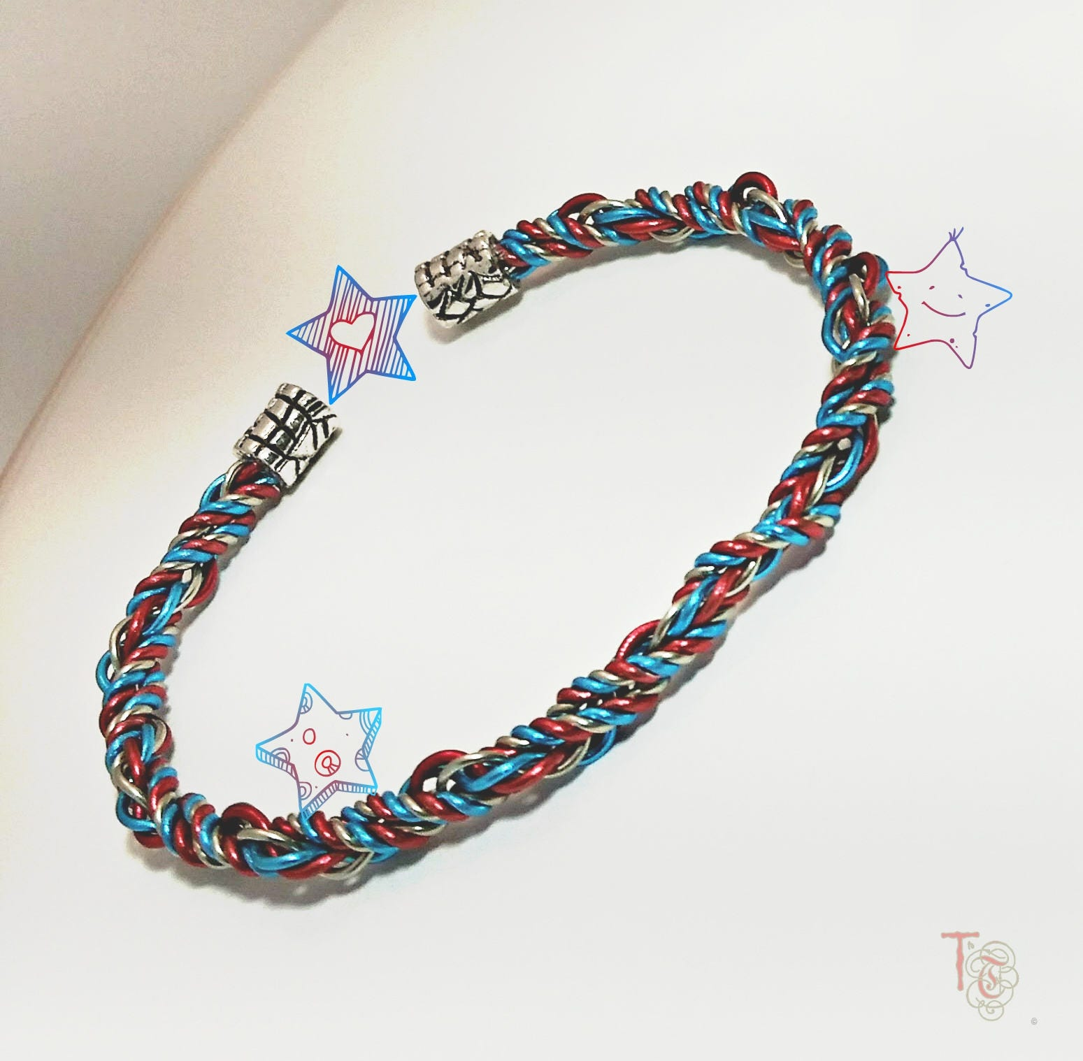 Patriotic Bangle, Twisted Wire Bangle of Red, White, and Blue