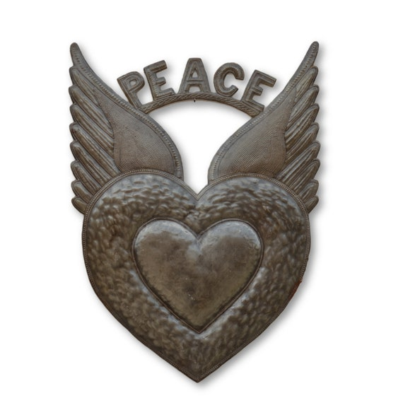 Peace Milagro Heart, Handmade Quality Haitian Metal Art, Limited Edition 24.5 x 17