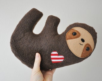 Furry Cuddly Sloth - Striped Heart